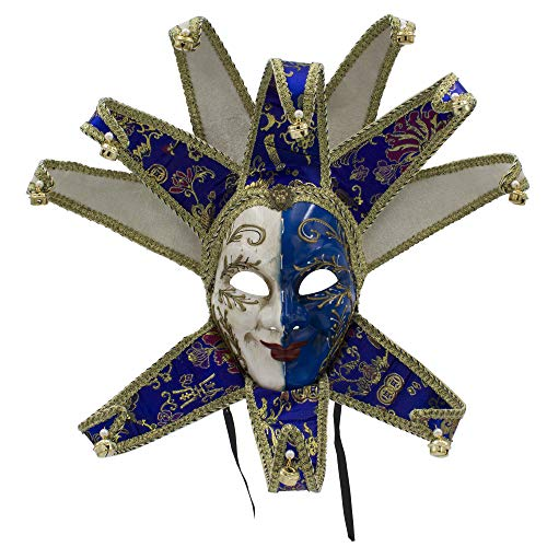 Máscara Veneciana del Bufón de Modelo Vintage para Carnaval Halloween Navidad Cosplay Fiesta Bola de Fantasía (Azul)