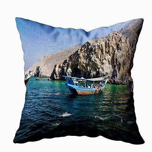 Funda de Cojine Funda Cojin Throw Cojín Caso Fundas de Almohada Delfines y barcos turísticos Omán Feb 2019 Dhow Musandam 45 X 45 CM
