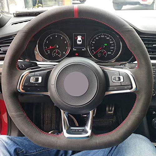 HCDSWSN Schwarze Wildleder-Auto-Lenkrad-Abdeckung für VW Golf 7 GTI Golf R MK7 von VW Polo GTI Scirocco 2015 2016