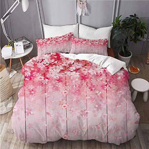 Juego de funda nórdica de 3 piezas de fácil cuidado y 2 fundas de almohada, flor japonesa temporada de primavera Sakura Bloom Flores de cerezo sobre tabla de madera, elegante funda de edredón de micro