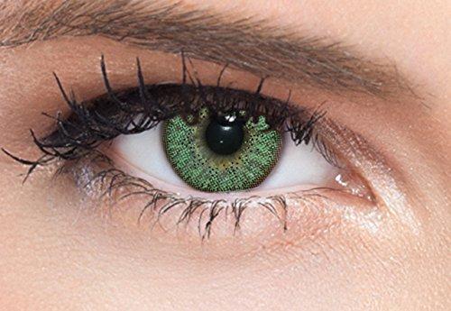Natürlich wirkende grüne farbige Kontaktlinsen einzelne Linsen mit oder ohne Stärke bestellbar, inkl. gratis Kontaktlinsen Behälter für grüne Farblinsen drei Monatslinsen (Eine Linse -0,50)