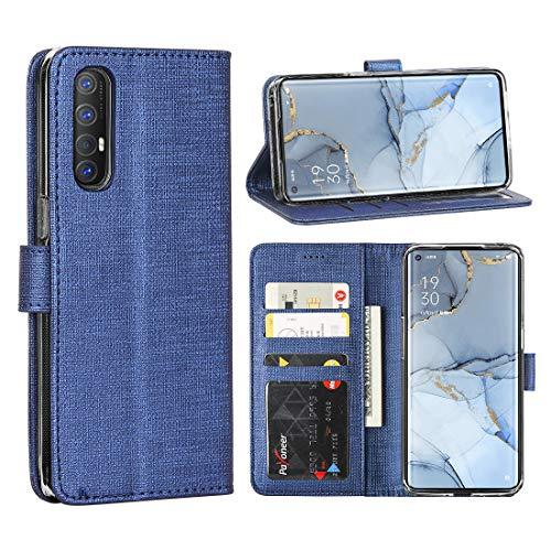 FUNMAX+ Oppo Find X2 Neo 5G Hülle, PU Leder Handyhülle mit 3 Kartenfächer, Schutzhülle Hülle Tasche Magnetverschluss Flip Cover Stoßfest für Find X2 Neo (Blau)