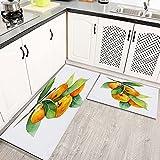 Alfombras Cocina Lavable Antideslizante Mandarina Verde Acuarela Fruta Mandarina Rama Alimentos Bebidas Naturaleza Naranja Zumo de Alfombrilla de Goma Alfombra de Baño