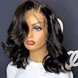 QUINLUX WIGS Body Wave Short Bob Human Hair Wig 13x6 HD Transparent Lace Front Human Hair Wig Brazilian Hair Natural Color 150% Density Short Wigs Ocean Wave Pre Plucked With Baby Hair For Women10Inch