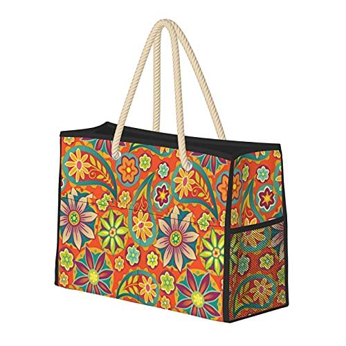 Bolsa de playa grande y bolsa de viaje para mujer – Bolsa de piscina con asas, bolsa de semana y bolsa de noche – Groovy Paisley