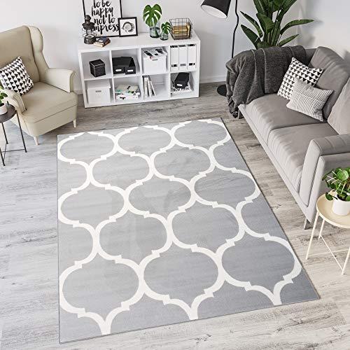 TAPISO Laila Alfombra de Salón Dormitorio Cuarto Juvenil Diseño Moderno Gris Blanco Trébol Marroquí Fina 80 x 150 cm