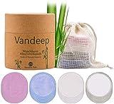Coton demaquillant lavable20 Pcs Tampons rutilisables en coton et bambou avec sac linge et bote de rangement. Lingette demaquillante lavable et cologiques pour le nettoyage du visage