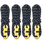 Azarxis 4 Pack Guy Ropes, 3mm Reflective Guy Line, High-Strength Lightweight 4m Tent Guyline Rope with Aluminum Rope…