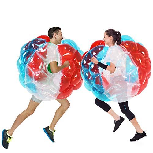 N/W - Bolas de burbuja hinchables para niños, bola de parachoques, balón de fútbol para niños, para hámster y knocker (rojo + azul + transparente, 36 pulgadas)