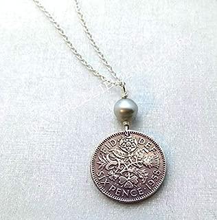 Sixpence Coin Necklace. Sixpence necklace. Wedding sixpence. Tudor Rose. Irish Shamrock. Scottish Thistle. Welsh Leek.