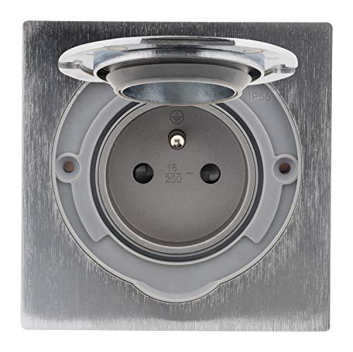 Simplea - Toma de suelo 16 A 2P + T, acabado en aluminio cepillado, IP55 con caja de instalación