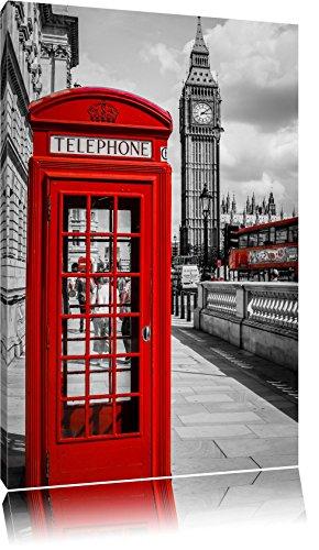 Pixxprint cabine téléphonique de Londres Stampa su Tela 100x70 cm Artistica murale