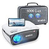 [Videoprojecteur WiFi Bluetooth] 6000 lumen WiMiUS Videoprojecteur Full HD Supporte 1080P, Retroprojecteur pour Function Zoom -50%, Home Cinéma Projecteur Compatible iPhone, Android,Mac, TV Stick, PS4