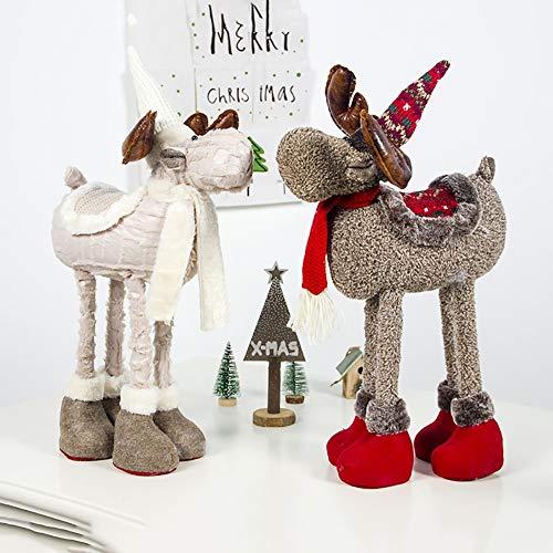 Handfly Decoración de Mesa navideña Adorno de muñeco de Reno de Felpa con Patas telescópicas Juguete de Animal de Peluche Figuras de Navidad Regalo