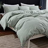 Andency Pom Pom Fringe Duvet Cover Queen Size (90x90 Inch), 3 Pieces (1 Solid Sage Green Duvet Cover, 2 Pillowcases) Soft Washed Microfiber Duvet Cover Set with Zipper Closure, Corner Ties