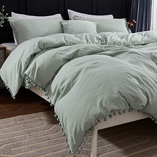 Andency Pom Pom Fringe Duvet Cover Queen Size (90x90 Inch), 3 Pieces (1 Solid Sage Green Duvet...