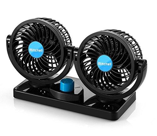 Ventilador para automóvil eléctrico, cabezal giratorio doble de 360 °, 2 velocidades,...