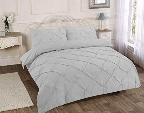 LONDON.BEDDING @ DESIGNER ALFORD/PINTUCK WHITE_BLACK_CREAM_LATTE/ MOCHA_GREY/SILVER_PINK DUVET QUILT COVER SET WITH PILLOW CASES (Single, Grey/Silver)