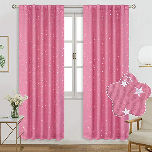 BGment Rod Pocket and Back Tab Blackout Curtains for Kids Bedroom - Sparkly Star Printed Thermal Insulated Room Darkening Curtain for Nursery, 52 x 84 Inch, 2 Panels, Pink