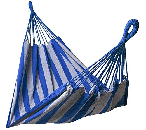 Kronenburg Hängematte Mehrpersonen 210 x 150 cm, Belastbarkeit bis 300 kg - in Blau/Grau - Farb- und Modellwahl