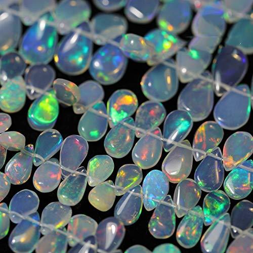 HOULAI 1 pieza ópalo natural brillante forma de pera DIY producto semiacabado entero perforado perlas accesorios para la fabricación de joyas