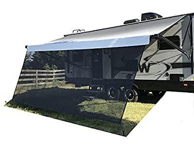 Tentproinc RV Awning Sun Shade 8' X 17' 3'' Black Recreational Home Mesh Screen Sunshade Complete Kits Motorhome Camping Trailer Canopy UV Sunblocker - 3 Years Limited Warranty