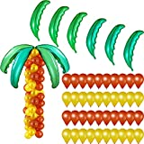 6 Pieces Hawaiian Coconut Palm Tree Leaves Balloons and 100 Pieces Brown Gold Balloons Latex Round Balloons for Summer Tropical Luau Birthday Wedding Baby Shower Party Supplies