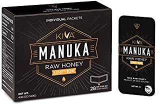 Kiva Certified UMF 10+, Raw Manuka Honey SNAP-Packets - New Zealand (28 Count | On-The-Go Packets)