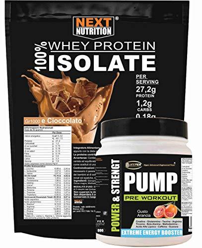 Proteine e Aminoacidi WHEY Isolate gr 4000 Senza Aspartame senza Glutine + Pre Workout gr 500 Pre Allenamento PUMP Integratore Energetico Allenamenti