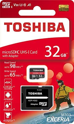 Toshiba Micro SD Card Memory Card 32GB EXCERIA M303 with SD Adapter microSDHC UHS-I U3 Card 4K Class10 V30 A1 microSD Read 98MB/s Write 65MB/s (THN-M303R0320A2)