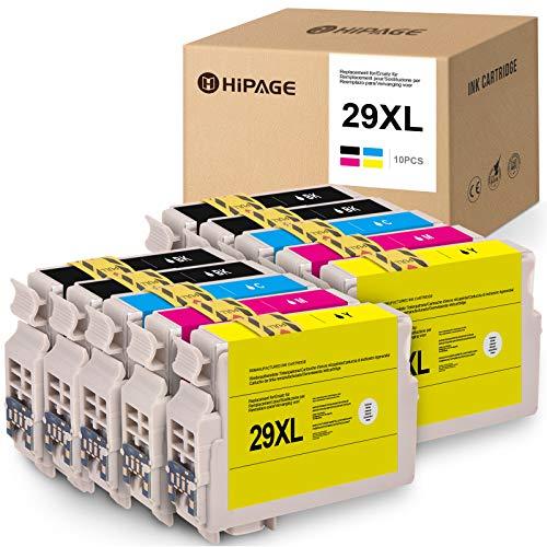 10 HIPAGE 29XL Cartuchos de tinta de repuesto para Epson 29 29XL compatibles con Epson Expression Home XP-235 XP-240 XP-245 XP-247 XP-330XP-332 XP-335 XP-340XP-342XP-345XP-430XP-432 XP-435