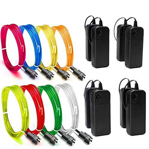 Sunboia El Wire 4 Modi Neonlicht Batteriebetriebener Elektrolumineszenzdraht Leuchtendes Stroboskop-Dekoratives Licht für Xmas Party Pub (8x1Mt-Rot,Grün,Blau,Weiß,Rosa,Gelb,Orange,Zitrone)