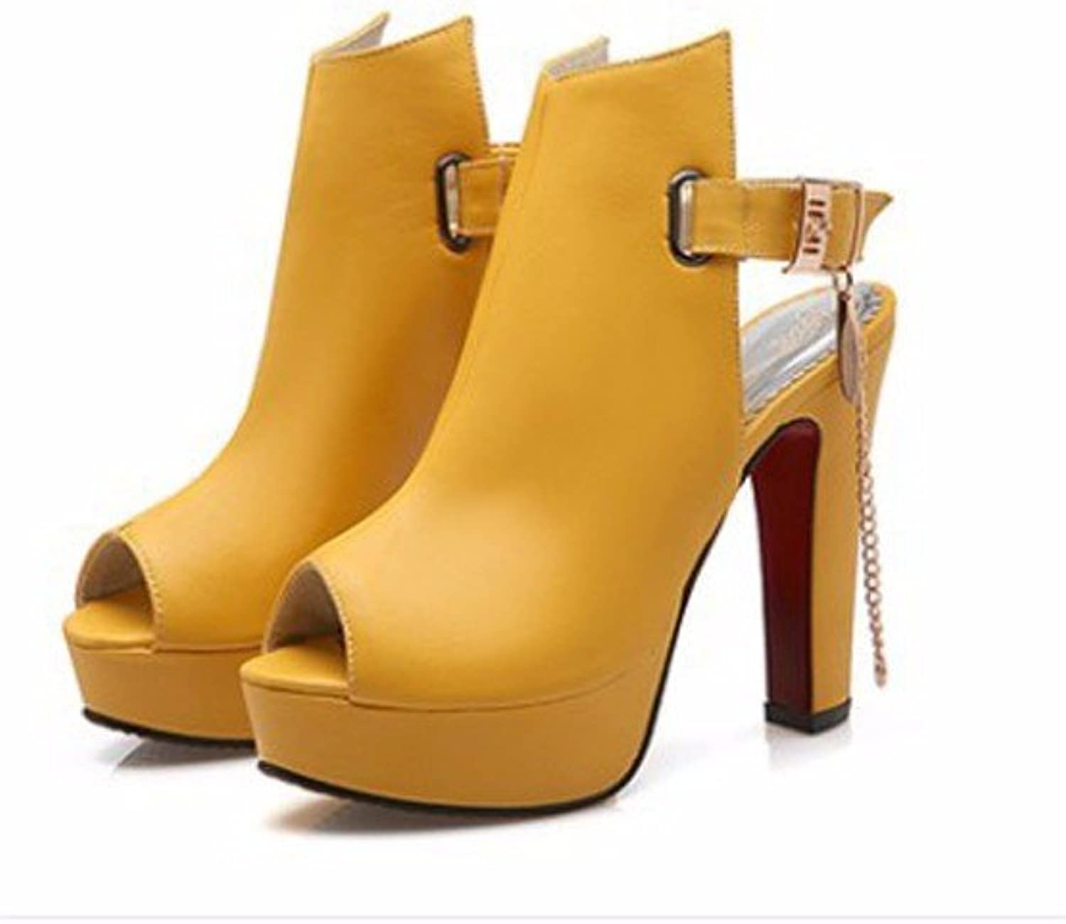 Women's shoes buckle rough with stylish high-heel shoes, sandals, an empty chain Buckle-YU&XIN