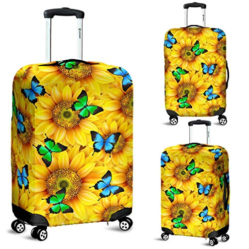 Sunflowers & Butterflies Luggage Suitcase Cover Protector Decor Sunflower Gift Item (Large)