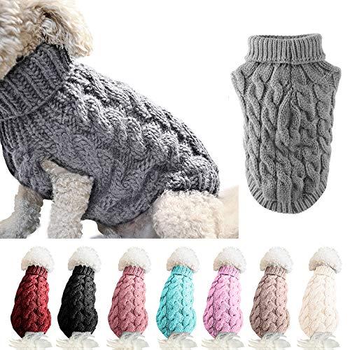 FAMKIT Abrigo de suéter de Punto con Cuello Alto para Perros y...