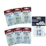 SUPER Confezione da 30 aghi per macchina da cucire Singer per tessuti universali e Cotone Spessori 60, 70, 80, 90, 100 e 110