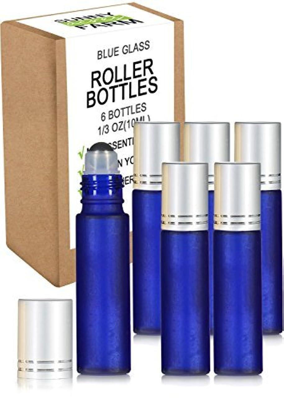 読むみなす感覚Rioa 10ml(1/3oz) Cobalt Blue Glass Roller Bottles With Stainless Steel Roller Ball for Essential Oil - Include 6 Extra Roller ball [並行輸入品]