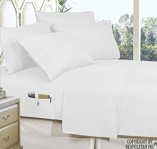Elegant Comfort 4-Piece Queen- Smart Sheet Set! Luxury Soft 1500 Thread Count Egyptian Quality Wrinkle and Fade Resistant with Side Storage Pockets on Fitted Sheet, Queen, White