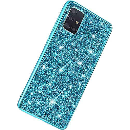 Herbests Kompatibel mit Samsung Galaxy A51 Hülle Glänzend Glitzer Bling Strass Handyhülle Ultra Dünn Soft Handyhülle Case für Mädchen Männer Diamant Stoßfest Hart PC TPU Bumper,Blau