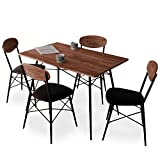 LOWYA ロウヤ ダイニングセット 4人掛け テーブル チェア 4脚 5点セット ダークブラウン