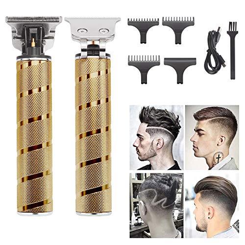 J TOHLO Haarschneidemaschine für Männer Profi Haarschneider Herren Barttrimmer USB Wiederaufladbar Schnurloser Elektrischer Friseursalon T-Blade Trimmer (gold)