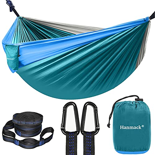 Camping Hammock, Double Hammock with 2 Tree Straps(16+2 Loops), Two Person Hammocks with 210T...