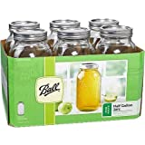Ball Glass Mason Jar with Lid and Band, Wide Mouth, 64 oz, (6 Count w/Cleaning)