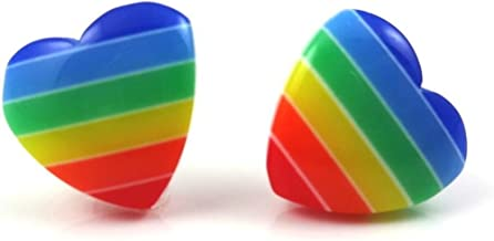 Rainbow Striped Retro Heart Earrings in Surgical Stainless Steel for Sensitive Ears