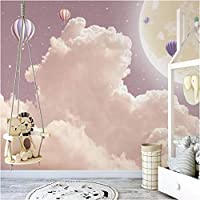 Iusasdz カスタム壁画壁紙北欧手描き3Dファンタジー雲熱気球壁画子供部屋の背景壁の装飾-280X200Cm