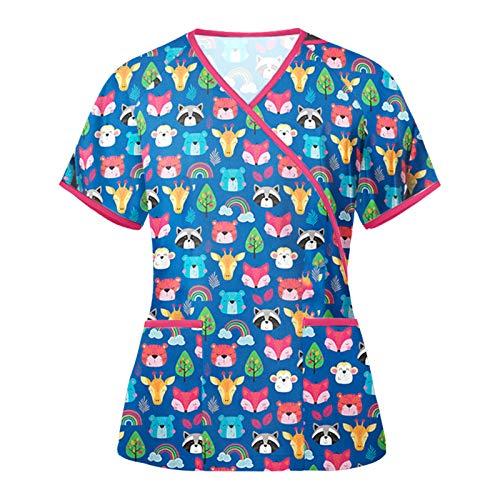 Krankenpflege Uniform Damen V-Ausschnitt Nurse Sommer Kurzarm Top Bunt Bedruckt Motiv Pflege T-Shirt mit Doppelt Taschen Schlupfkasack Krankenhauskleidung Kasack Schlupfhemd Arbeitskleidung
