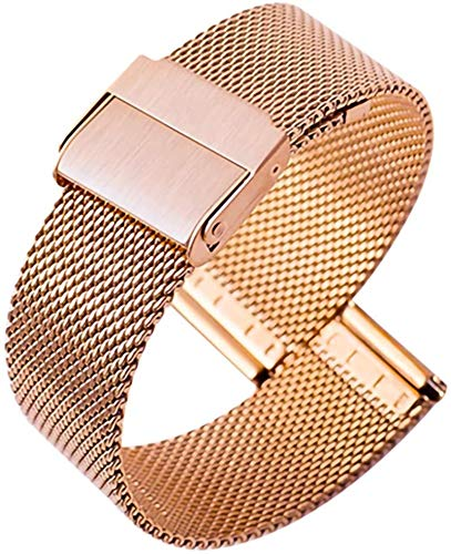 TGYY Correa de reloj de pulsera de malla tejida de metal, ultrafina, de acero inoxidable, universal, 19 mm, oro rosa