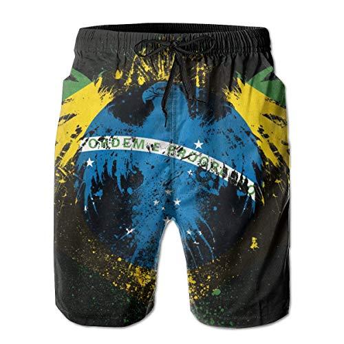 OKIJH Herren Badebekleidung Shorts Höschen Strandhose Fünf-Viertel-Hose Beach Shorts Brazil Flag Bird Fashionable Man Quick Dry Trunks Boardshorts Beach Shorts