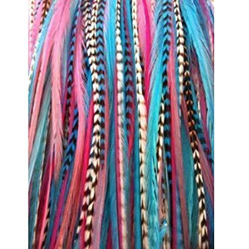 Plumes fines et longues Mermaid Mix de 17,8 cm à 25 cm pour extension de cheveux 7 plumes