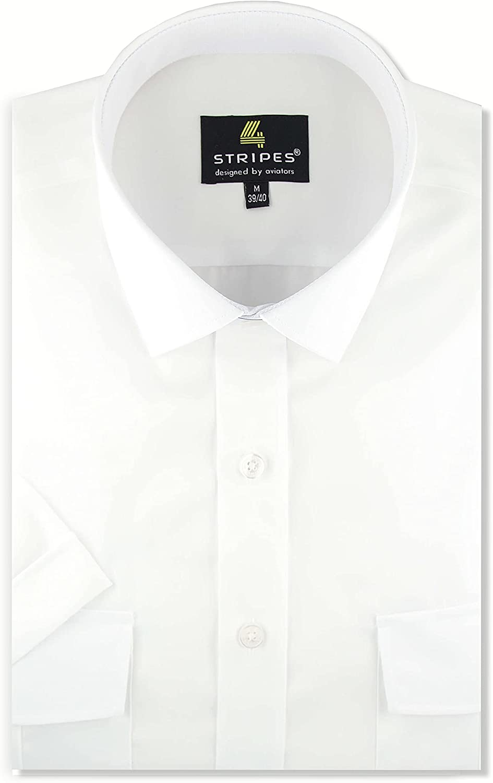 4 Stripes Mens White Pilot Shirt, 100% Cotton, Short Sleeve, Non-Iron, Stain Resistant Dress Shirt for Men